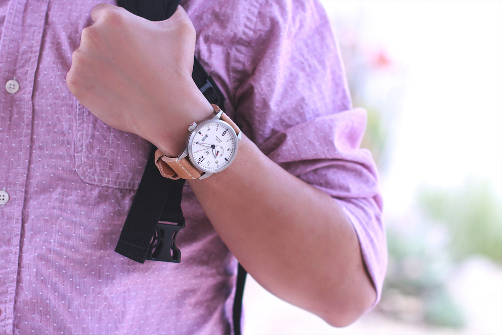 Natural Leather White Purple