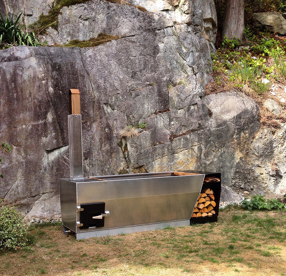Soak outdoor wood fired hot tub the coolector for Outdoor bathtub wood fired