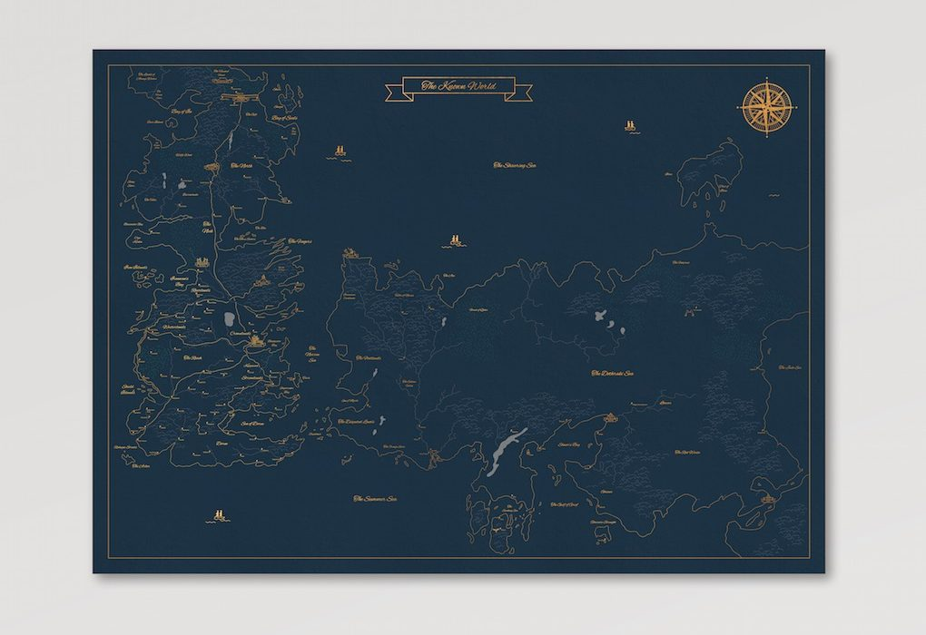 Game of Thrones Map of the World Poster | The Coolector Map Of Game Thrones Poster on