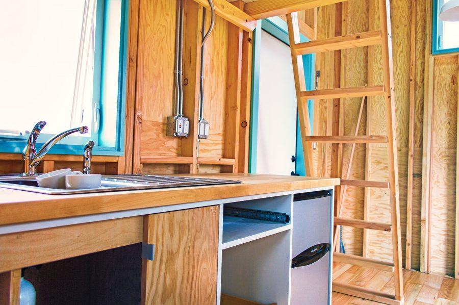 bunk-box-tiny-house-kitchen-and-loft-ladder