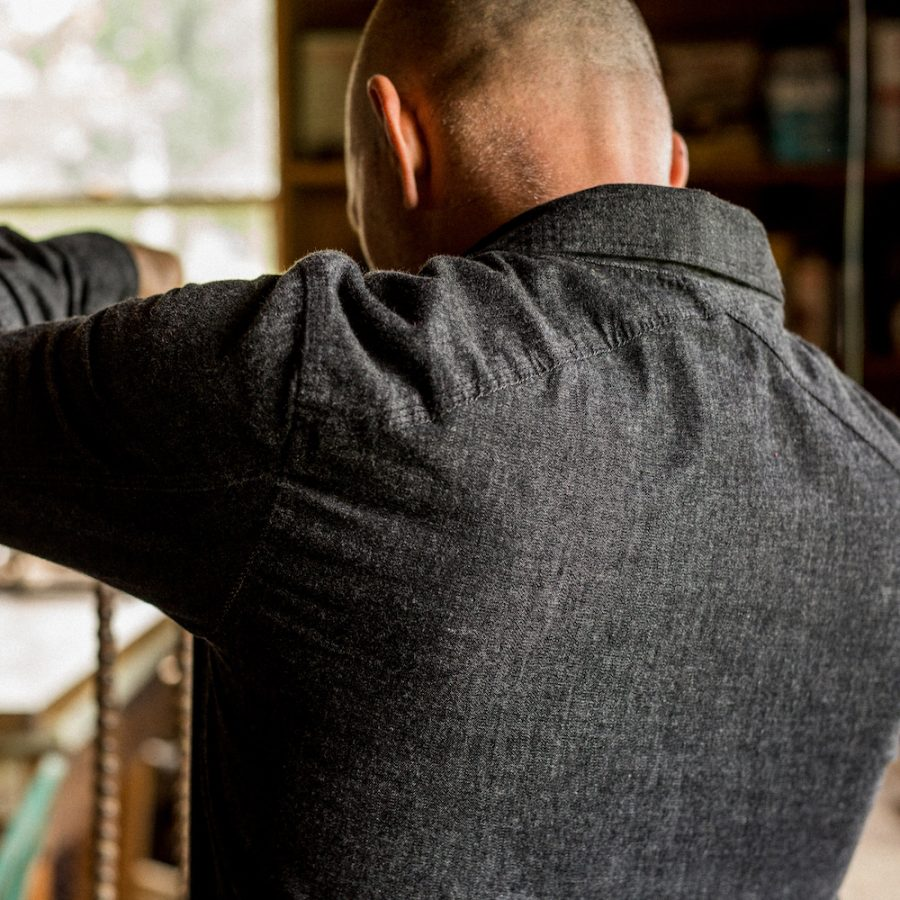 4cf39713c1 The wonderfully versatile and stylish Flint   Tinder Crossback Work Shirt  ( 110) is made from mid-weight black denim from the Kuroki mill in Japan  and it ...
