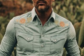 Taylor Stitch Embroidered Western Shirt in Washed Denim